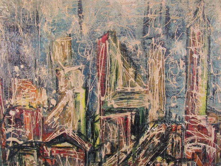 Mid-Century Modern Abstract Skyline Painting by David T. Corson For Sale