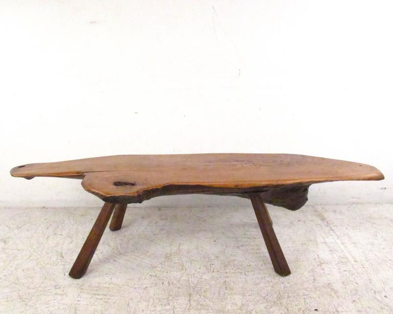 Vintage Rustic Free Edge Tree Slab Coffee Table