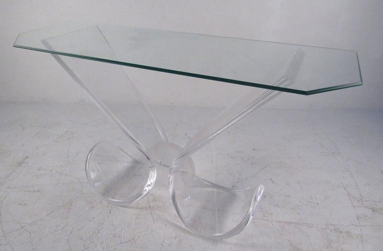 Mid-Century Modern Lucite and Glass Console Table 2