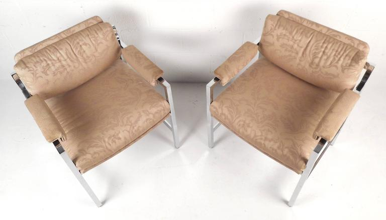 American Mid-Century Modern Milo Baughman Style Armchairs For Sale