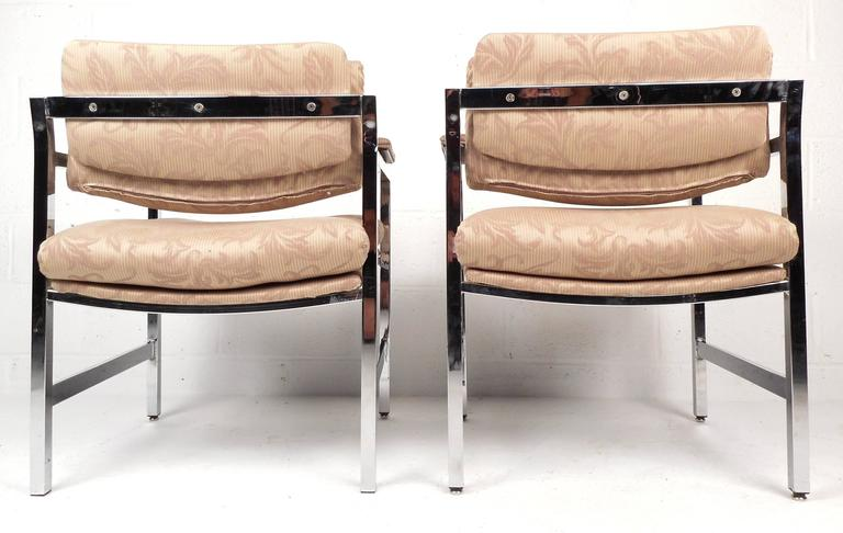 Late 20th Century Mid-Century Modern Milo Baughman Style Armchairs For Sale