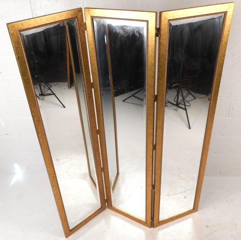 Pair of Mid-Century Modern Mirrored Three Panel Room Dividers 3