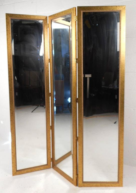 Pair of Mid-Century Modern Mirrored Three Panel Room Dividers 4