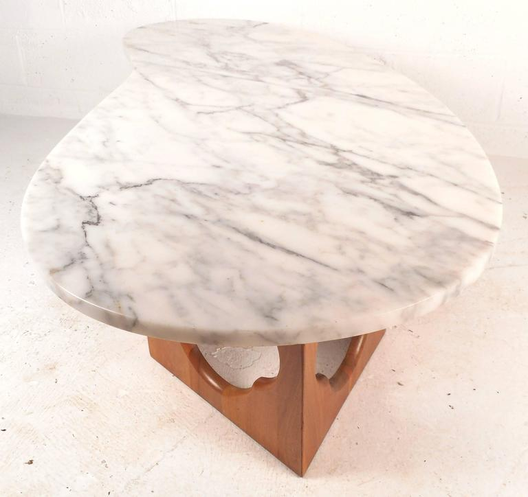 Late 20th Century Mid-Century Modern Marble Top Coffee Table with a Sculpted Base