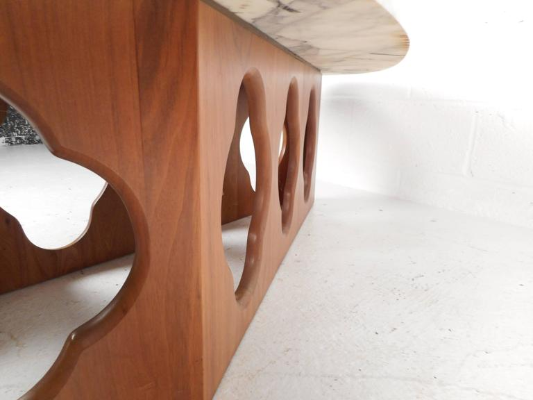 Mid-Century Modern Marble Top Coffee Table with a Sculpted Base 2