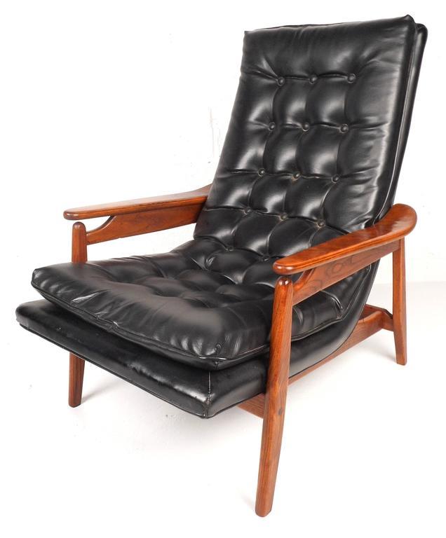 Miraculous Mid Century Modern Tufted Vinyl Lounge Chair And Ottoman Inzonedesignstudio Interior Chair Design Inzonedesignstudiocom