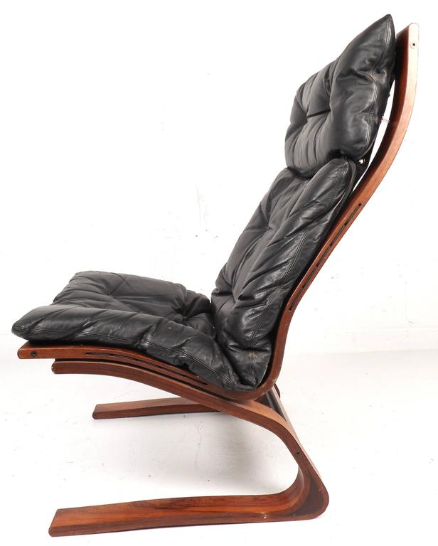 Mid-Century Modern Ingmar Relling Leather Lounge Chair with Ottoman For Sale