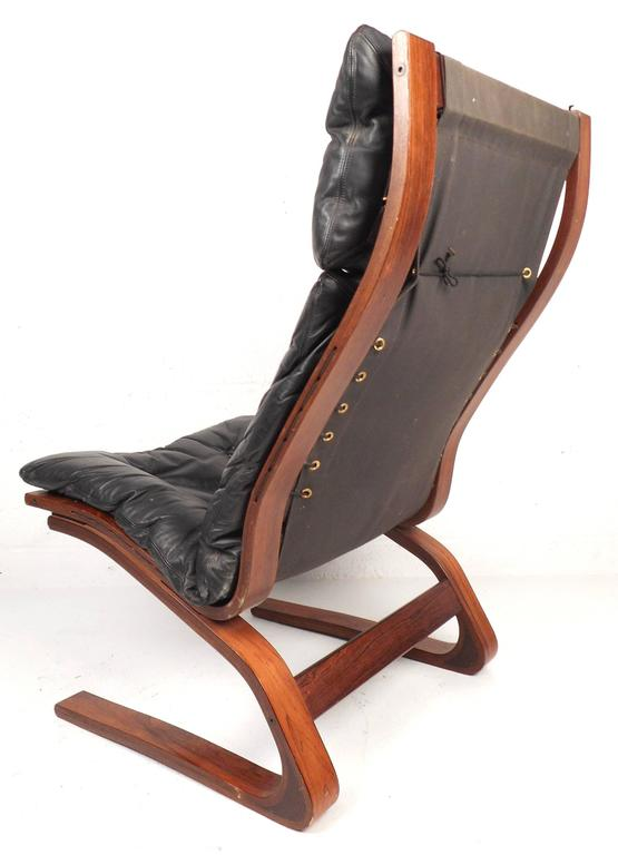 Norwegian Ingmar Relling Leather Lounge Chair with Ottoman For Sale