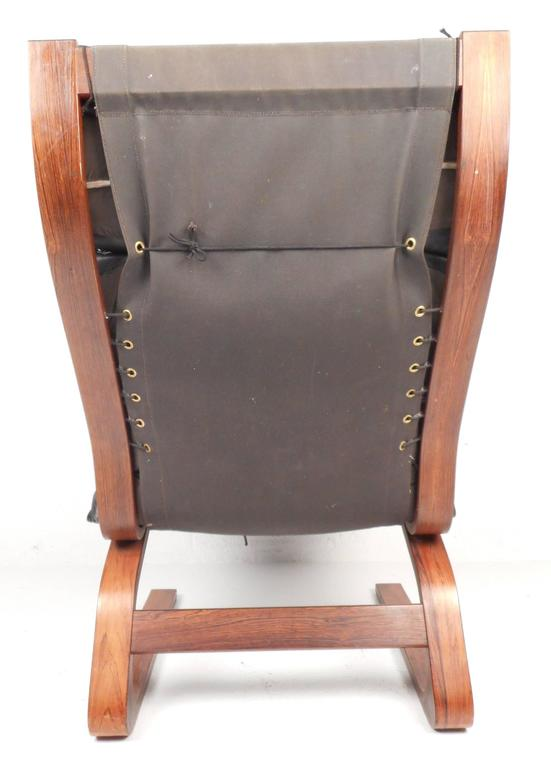 Ingmar Relling Leather Lounge Chair with Ottoman In Good Condition For Sale In Brooklyn, NY