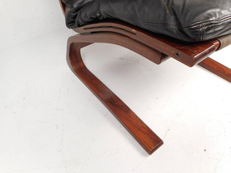Late 20th Century Ingmar Relling Leather Lounge Chair with Ottoman For Sale