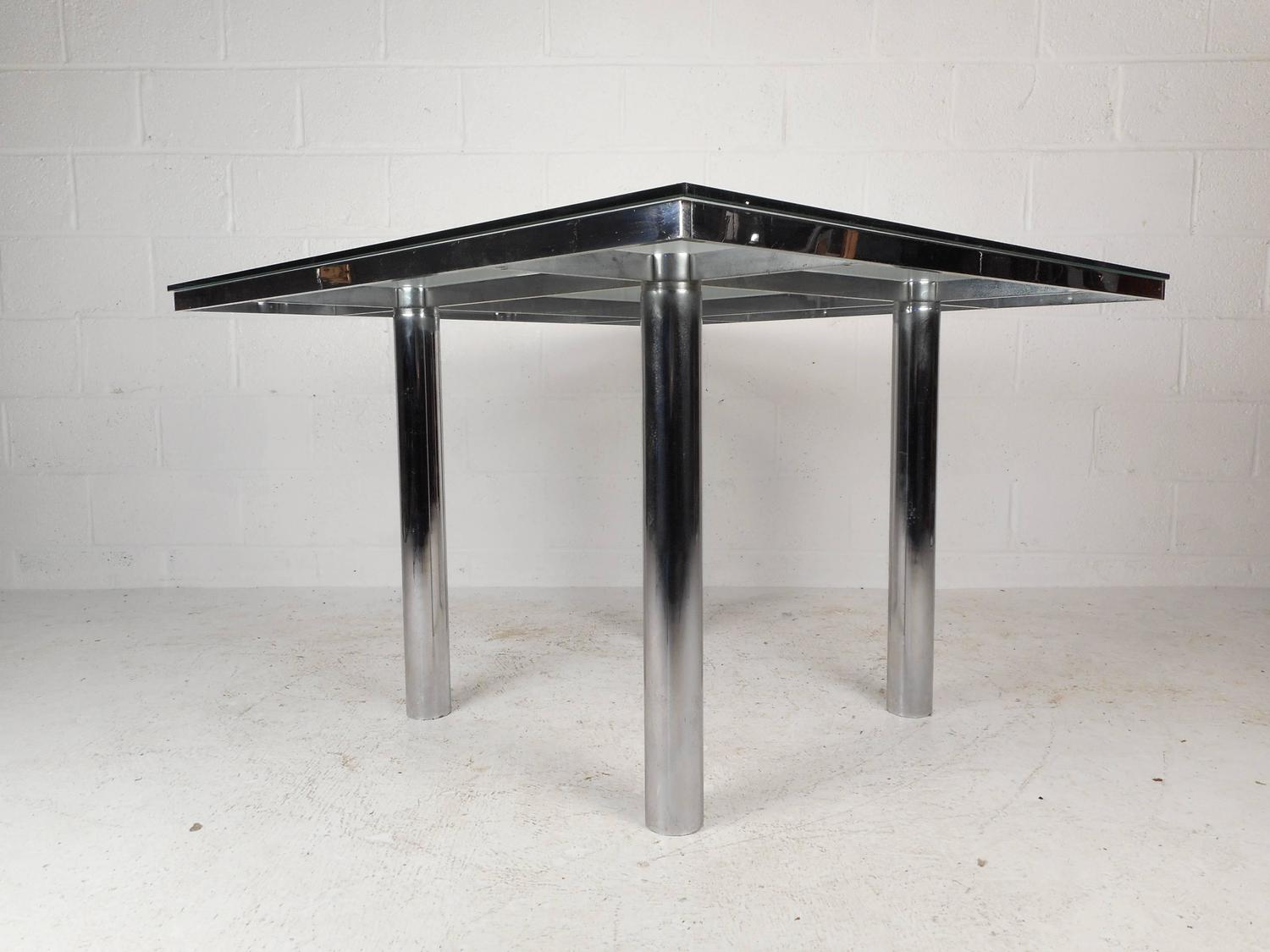 Mid Century Modern Chrome And Glass Dining Table For Sale