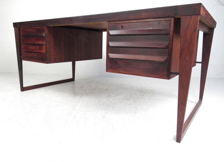Mid-Century Modern Rosewood Executive Desk by Kai Kristiansen For Sale 2