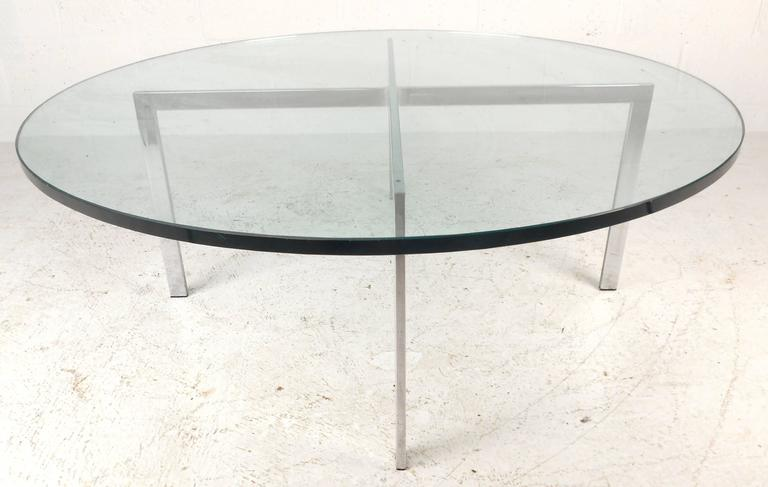 This Vintage Modern Circular Coffee Table Features A Heavy U0026quot;Xu0026quot;  Shaped Base With