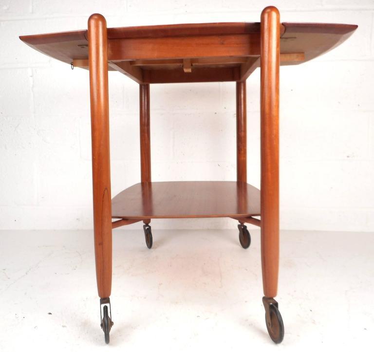Danish Mid-Century Modern Drop-Leaf Bar Cart by Vanson For Sale
