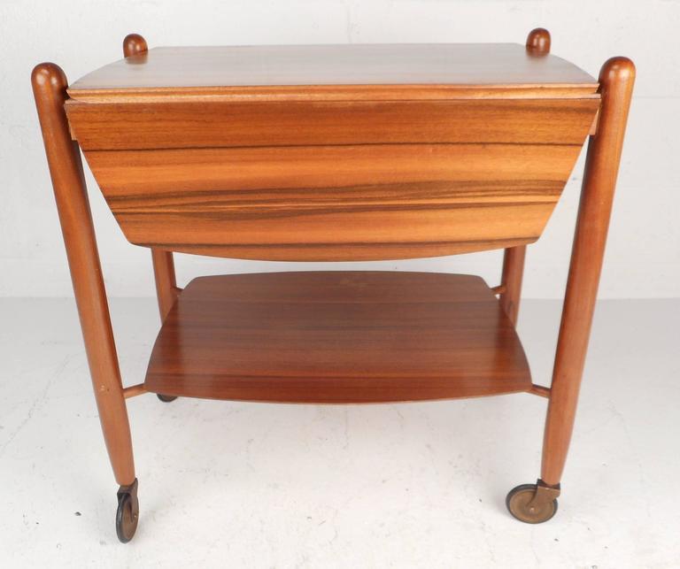 Brass Mid-Century Modern Drop-Leaf Bar Cart by Vanson For Sale