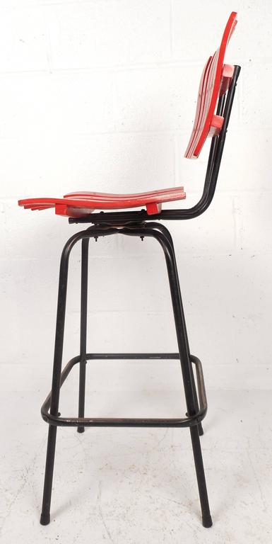 Set of Mid-Century Modern Swivel Bar Stools by Arthur Umanoff In Good Condition For Sale In Brooklyn, NY