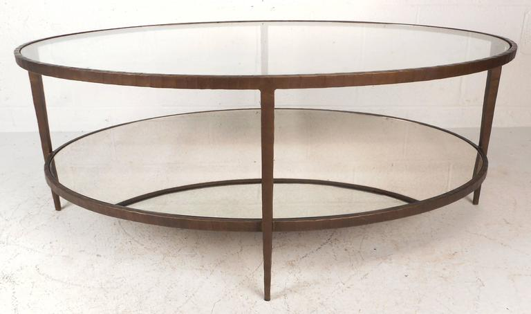 Perfect Mid Century Modern Oval Two Tier Textured Metal Coffee Table 2