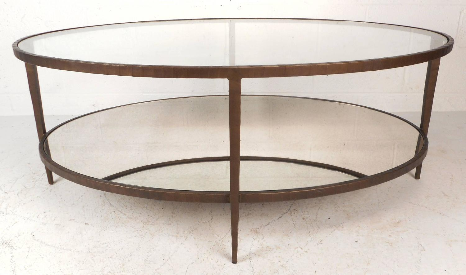 Mid Century Modern Oval Two Tier Textured Metal Coffee Table For Sale At 1stdibs
