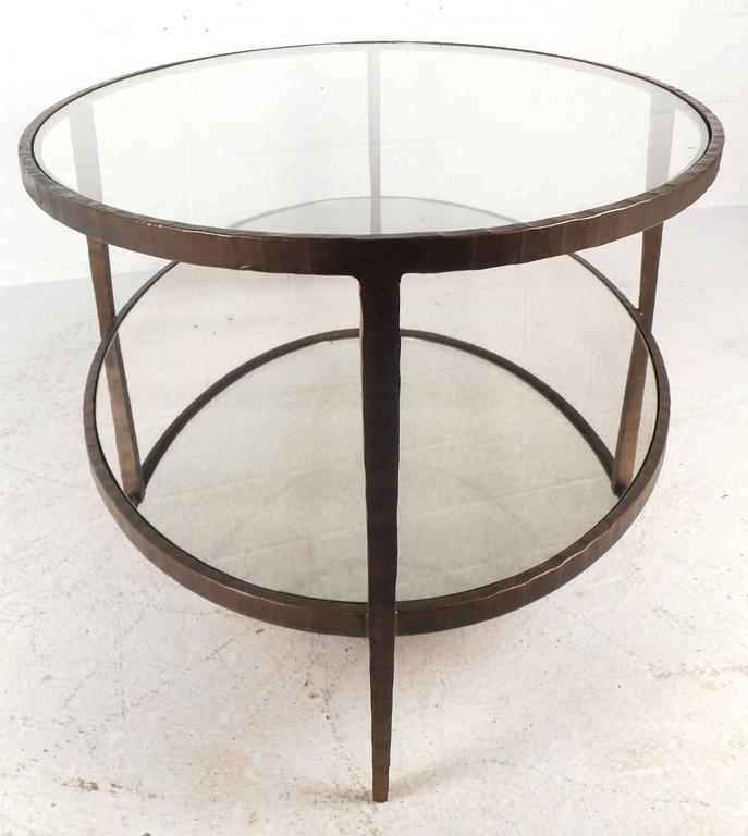 Mid Century Modern Oval Two Tier Textured Metal Coffee Table At 1stdibs