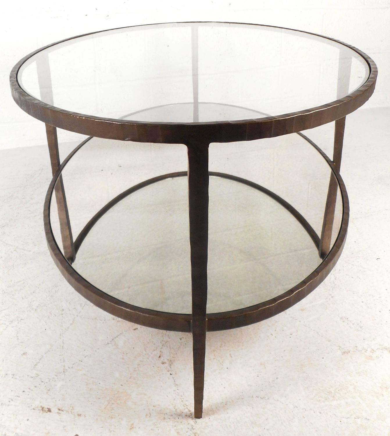 Mid-Century Modern Oval Two-Tier Textured Metal Coffee