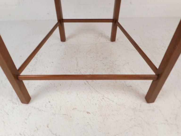Walnut Mid-Century Modern Dunbar Style Slat Bench For Sale