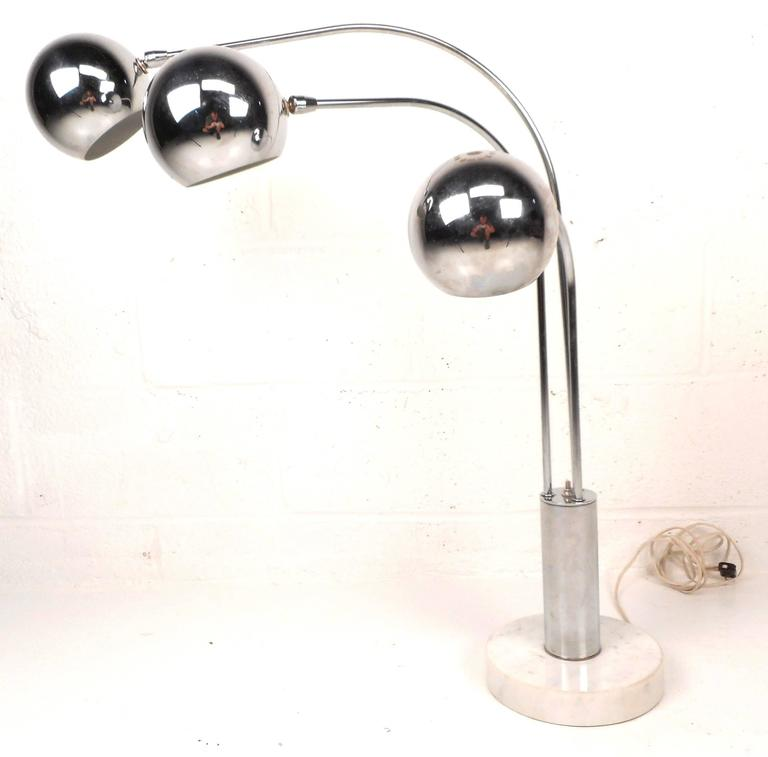 Mid Century Orb Lamp: Mid-Century Modern Chrome Orb Swivel Floor Lamp For Sale