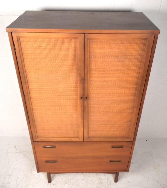 Mid Century Modern Cane Front Armoire Dresser At 1stdibs