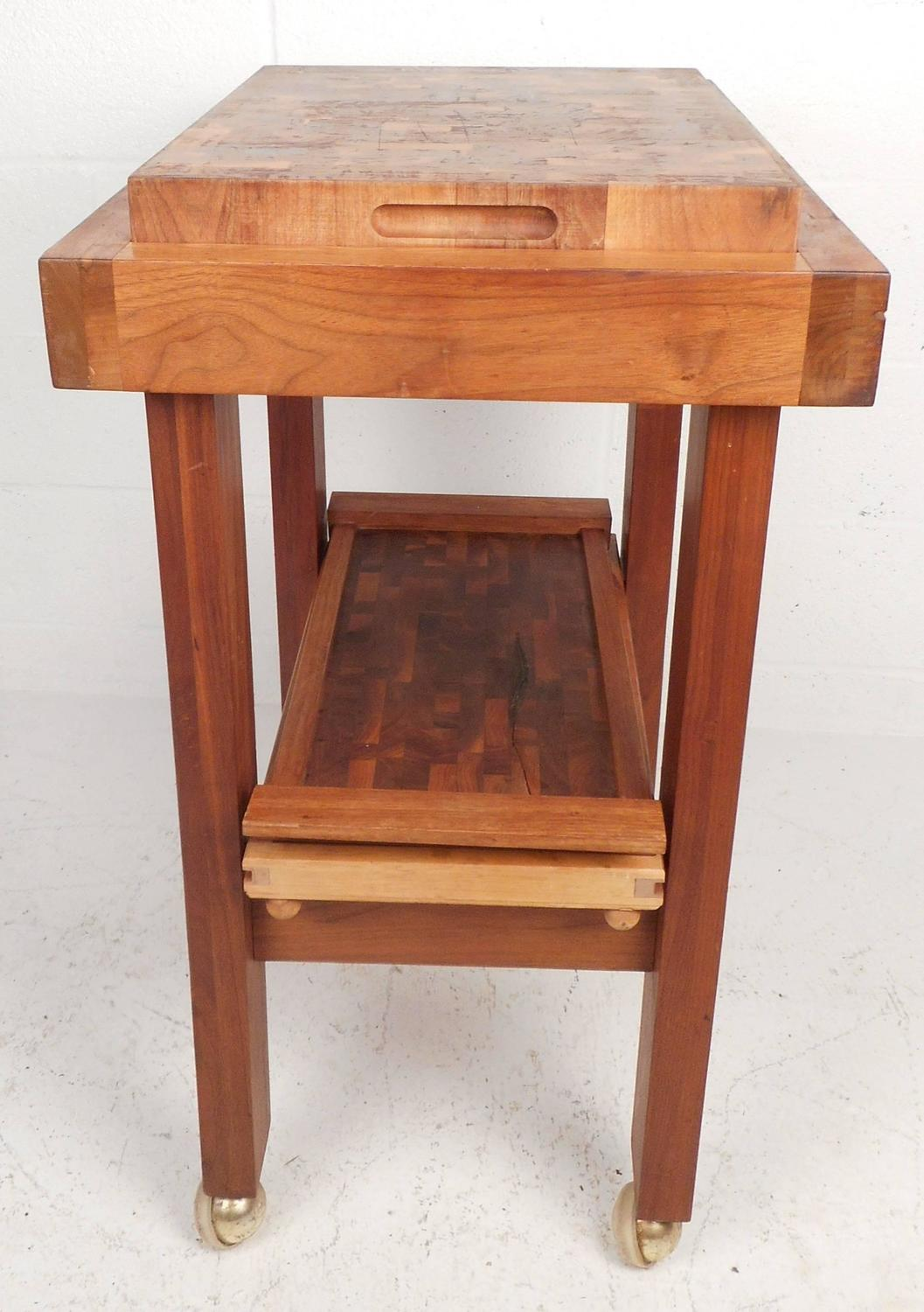 Mid Century Modern Style Butcher Block Rolling Cart For