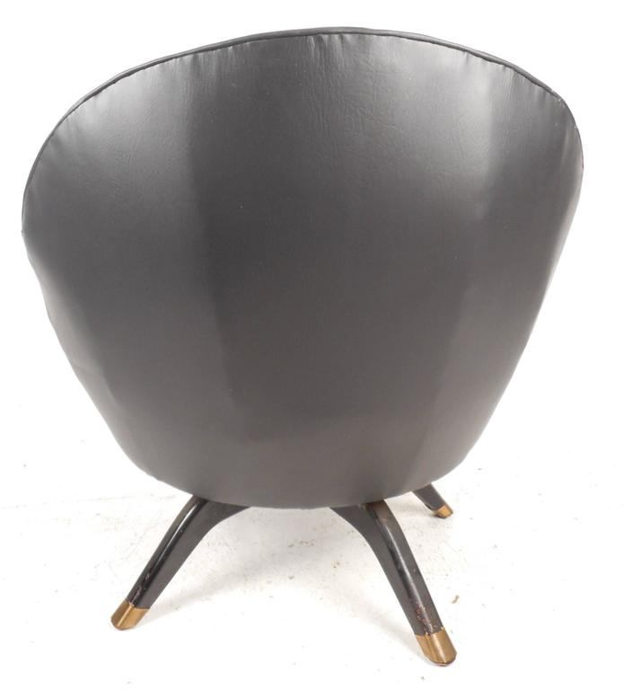 Brass Mid-Century Modern Overman Style Swivel Pod Chair For Sale