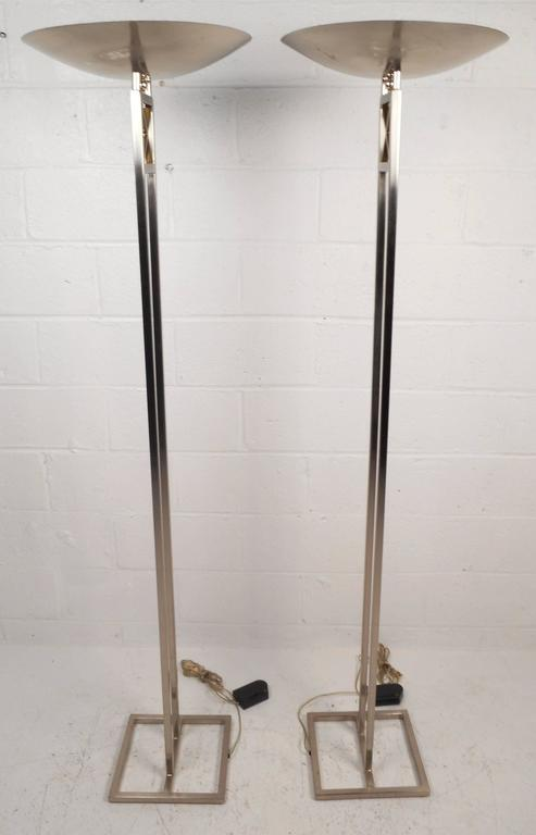 Mid-Century Modern Chrome Torchiere Floor Lamps In Good Condition For Sale In Brooklyn, NY