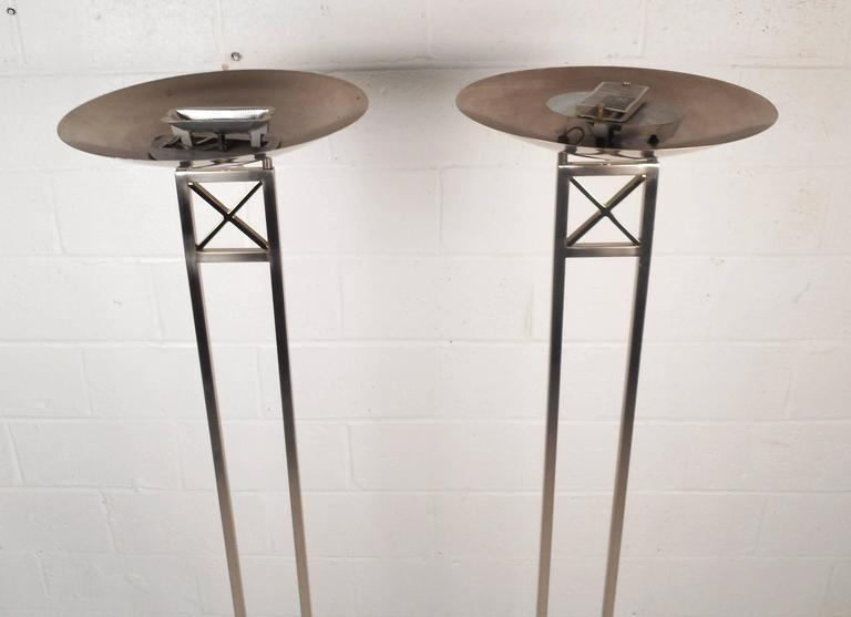 Late 20th Century Mid-Century Modern Chrome Torchiere Floor Lamps For Sale