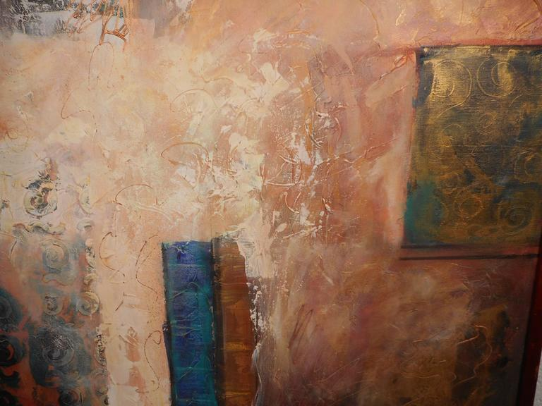 Late 20th Century Mid-Century Modern Contemporary Abstract Painting Signed by J. Stevens For Sale