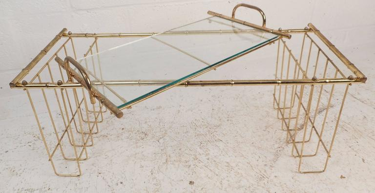 20th Century Mid-Century Modern Brass and Glass Serving Tray
