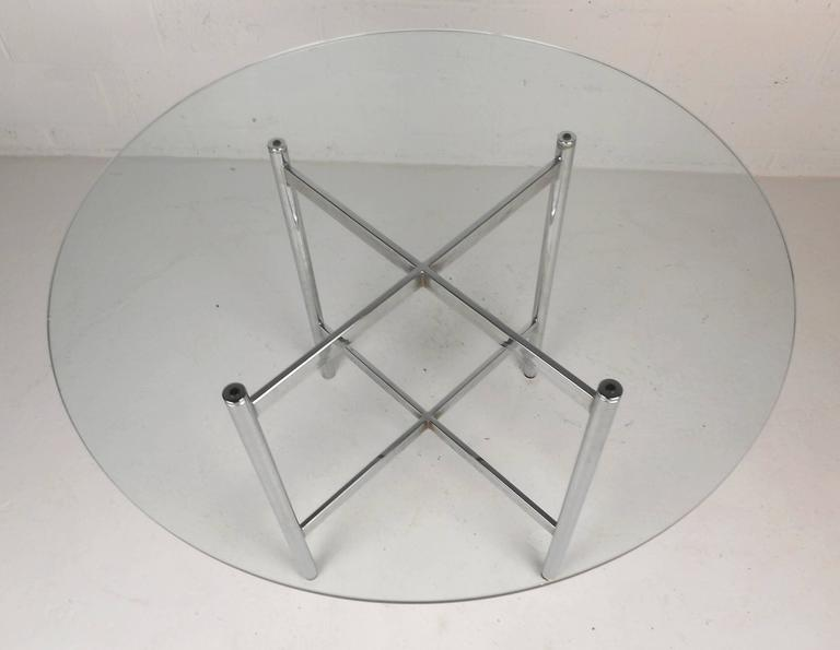 Late 20th Century Mid-Century Modern Chrome X-Base Dining Set For Sale