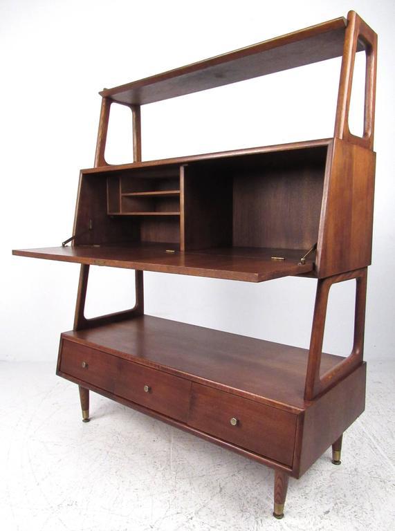 Mid Century Drop Front Desk Or Bookshelf Cabinet For Sale