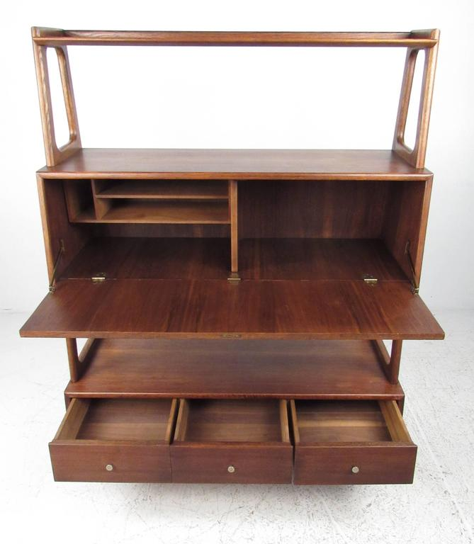 Mid Century Drop Front Desk Or Bookshelf Cabinet 3