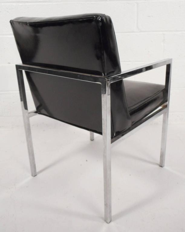 Set of Mid-Century Modern Vinyl and Chrome Dining Chairs For Sale 1