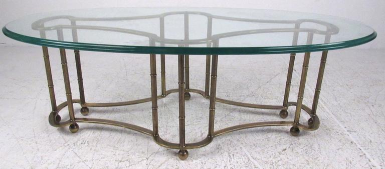 Glass And Brass Coffee Table By Mastercraft 2