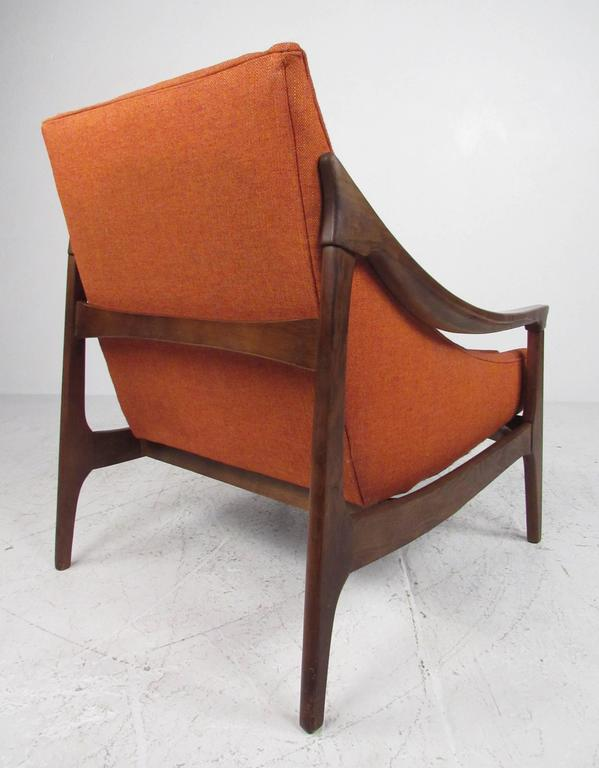 Mid Century Modern Mid Century High Back Sloped Arm Lounge Chair For Sale