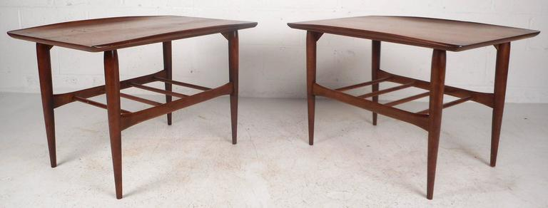 Vintage Walnut End Tables By Basset Furniture Company For Sale At
