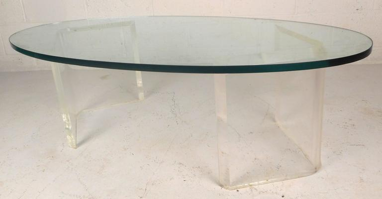 c84d6eeaa9ce Mid-Century Modern Oval Glass and Lucite Coffee Table For Sale at ...