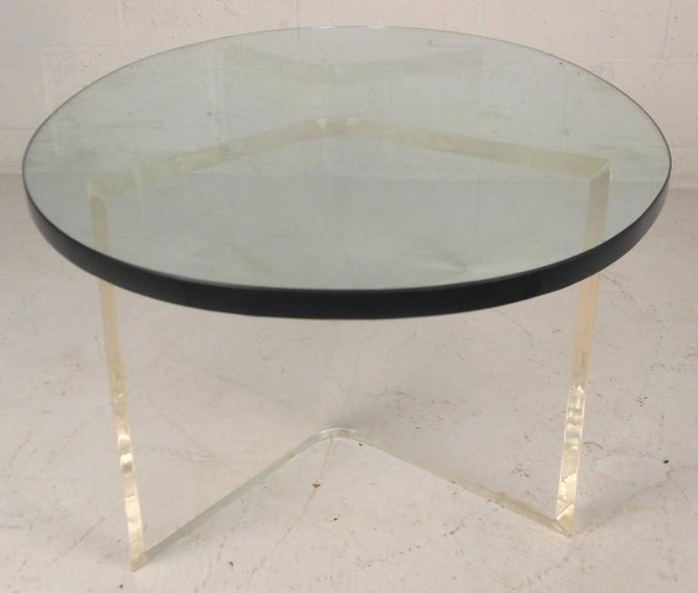 lucite coffee table square ikea mid century modern oval glass large