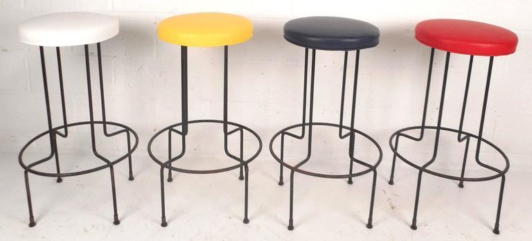 Tremendous Set Of Vintage Wrought Iron Bar Stools By Frederick Weinburg Customarchery Wood Chair Design Ideas Customarcherynet
