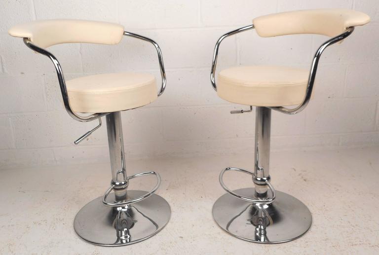 Pair Of Mid Century Modern Italian Adjustable Bar Stools