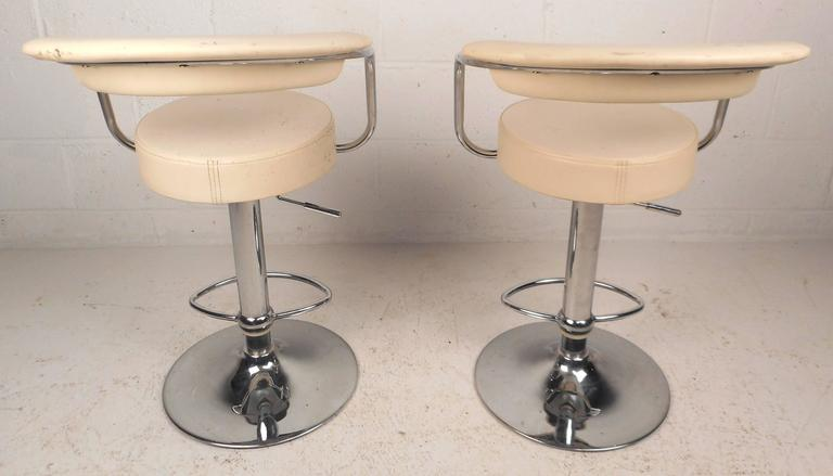 Pair Of Mid Century Modern Italian Adjustable Bar Stools
