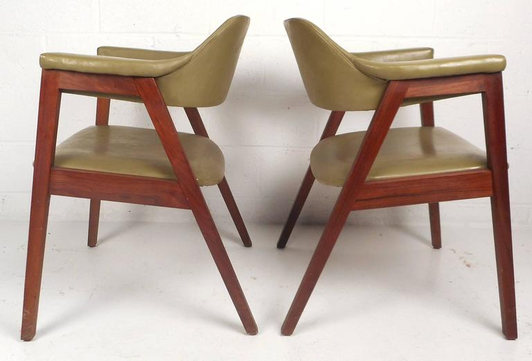 Mid Century Modern Vinyl Barrel Back Chairs For Sale At