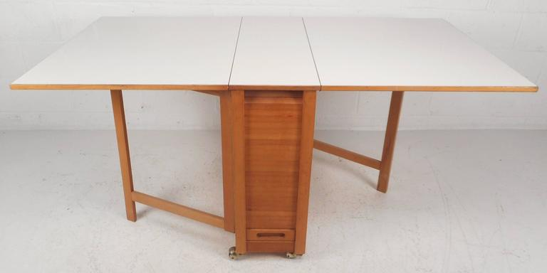 Mid Century Modern Compact Drop Leaf Dining Table With Chairs 2