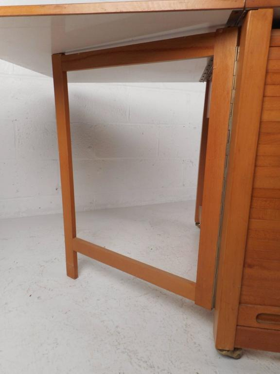 Mid Century Modern Compact Drop Leaf Dining Table With