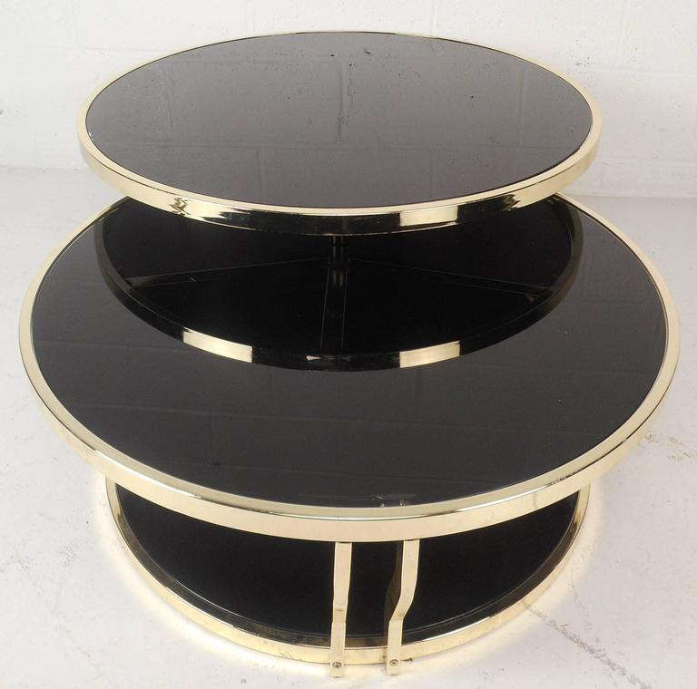 Wondrous Mid Century Modern Italian Brass And Smoked Glass Swivel Coffee Table Interior Design Ideas Clesiryabchikinfo