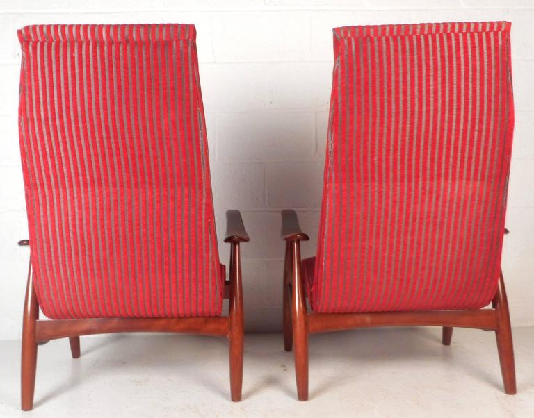 Upholstery Pair of Mid-Century Modern High Back Walnut Lounge Chairs For Sale